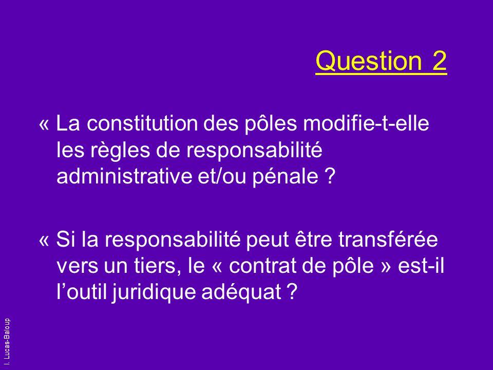 I. Lucas-Baloup Question 2 « La constitution des pôles modifie-t-elle les règles de responsabilité administrative et/ou pénale ? « Si la responsabilit