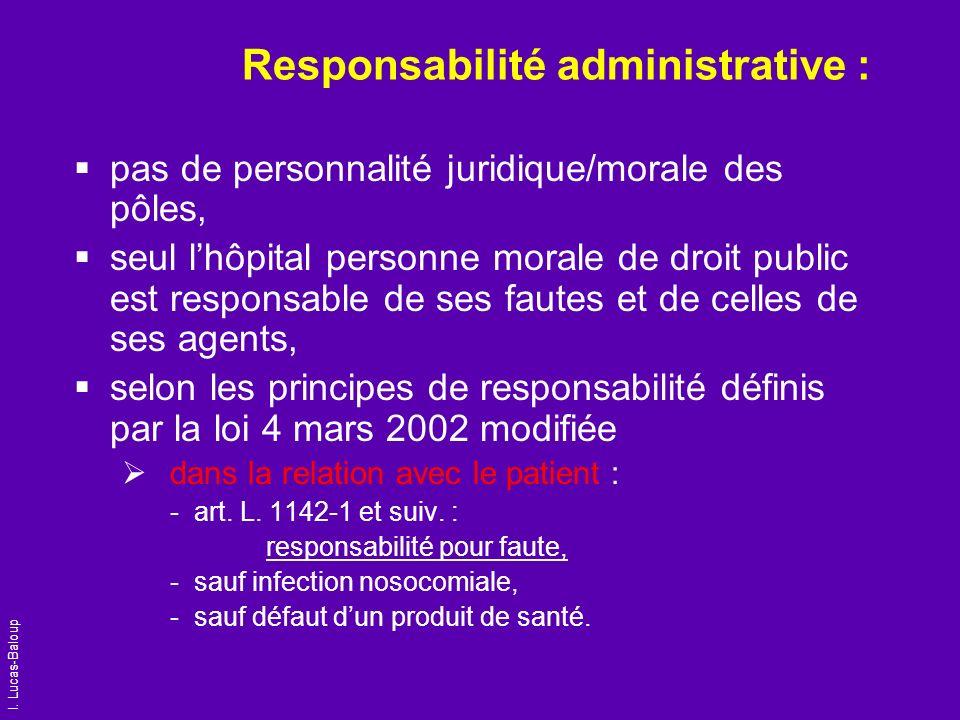 I. Lucas-Baloup Responsabilité administrative : pas de personnalité juridique/morale des pôles, seul lhôpital personne morale de droit public est resp