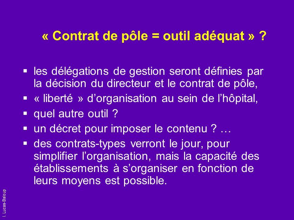 I. Lucas-Baloup « Contrat de pôle = outil adéquat » ? les délégations de gestion seront définies par la décision du directeur et le contrat de pôle, «