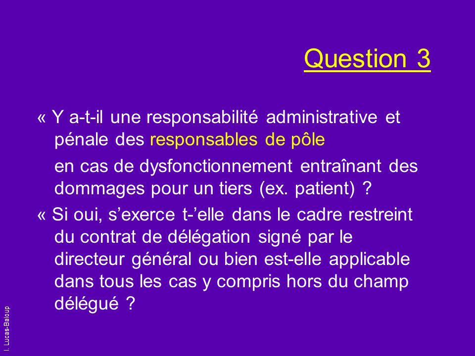 I. Lucas-Baloup Question 3 « Y a-t-il une responsabilité administrative et pénale des responsables de pôle en cas de dysfonctionnement entraînant des