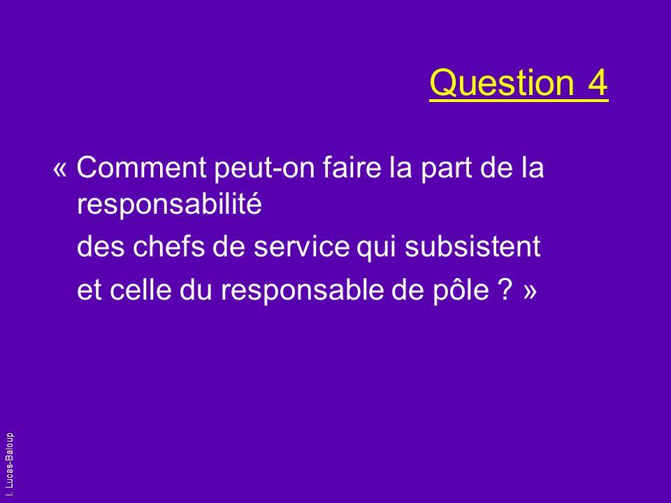 I. Lucas-Baloup Question 4 « Comment peut-on faire la part de la responsabilité des chefs de service qui subsistent et celle du responsable de pôle ?