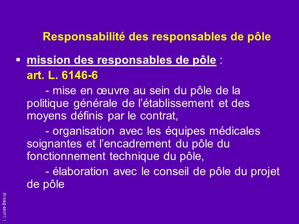 I. Lucas-Baloup Responsabilité des responsables de pôle mission des responsables de pôle : art. L. 6146-6 - mise en œuvre au sein du pôle de la politi