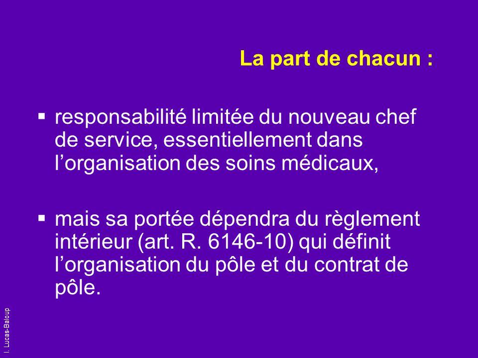I. Lucas-Baloup La part de chacun : responsabilité limitée du nouveau chef de service, essentiellement dans lorganisation des soins médicaux, mais sa
