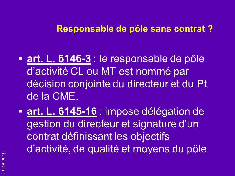 I. Lucas-Baloup Responsable de pôle sans contrat ? art. L. 6146-3 : le responsable de pôle dactivité CL ou MT est nommé par décision conjointe du dire