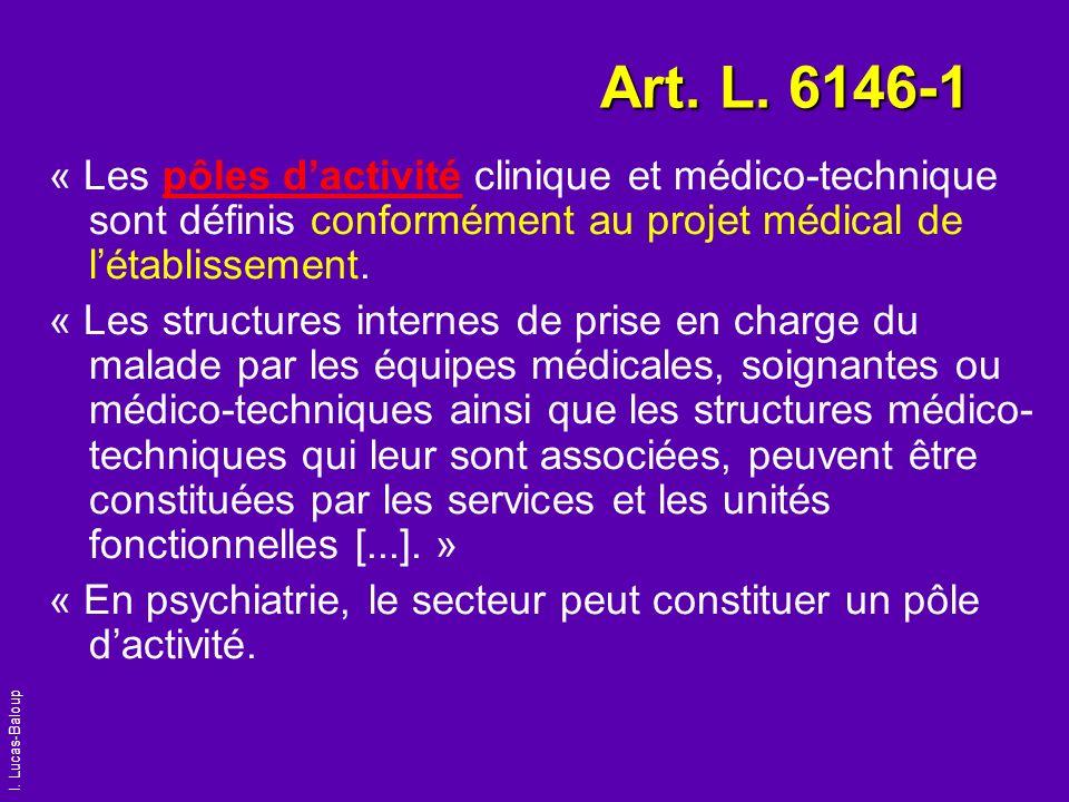I. Lucas-Baloup Art. L. 6146-1 « Les pôles dactivité clinique et médico-technique sont définis conformément au projet médical de létablissement. « Les