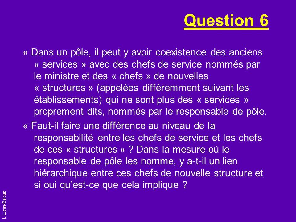 Question 6 « Dans un pôle, il peut y avoir coexistence des anciens « services » avec des chefs de service nommés par le ministre et des « chefs » de n
