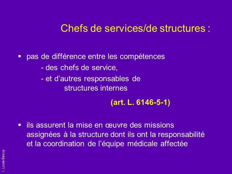 I. Lucas-Baloup Chefs de services/de structures : pas de différence entre les compétences - des chefs de service, - et dautres responsables de structu