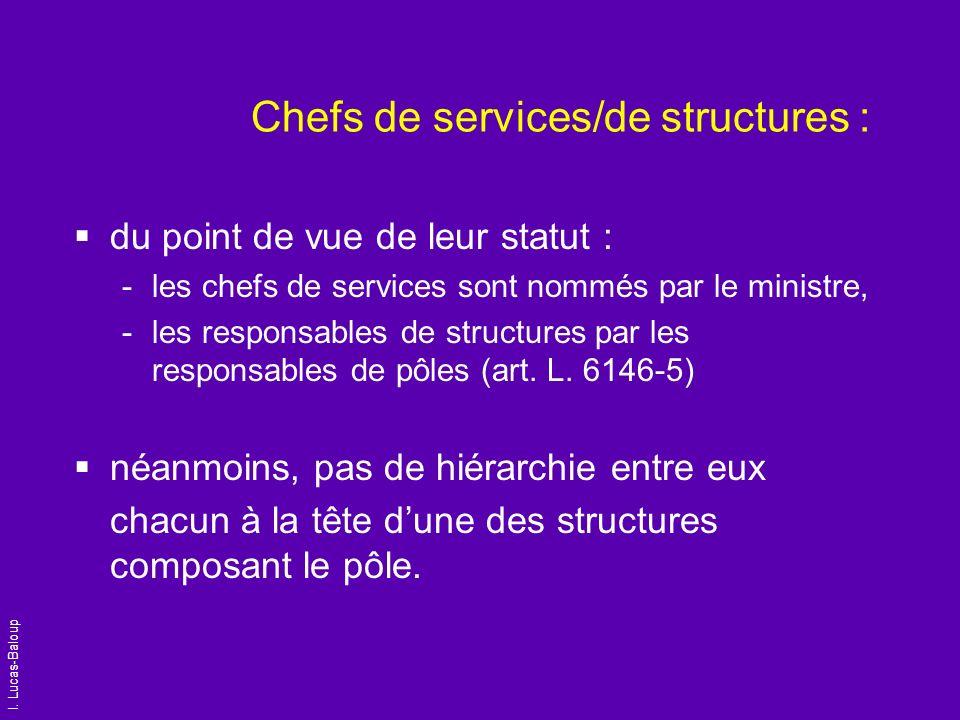 I. Lucas-Baloup Chefs de services/de structures : du point de vue de leur statut : -les chefs de services sont nommés par le ministre, -les responsabl