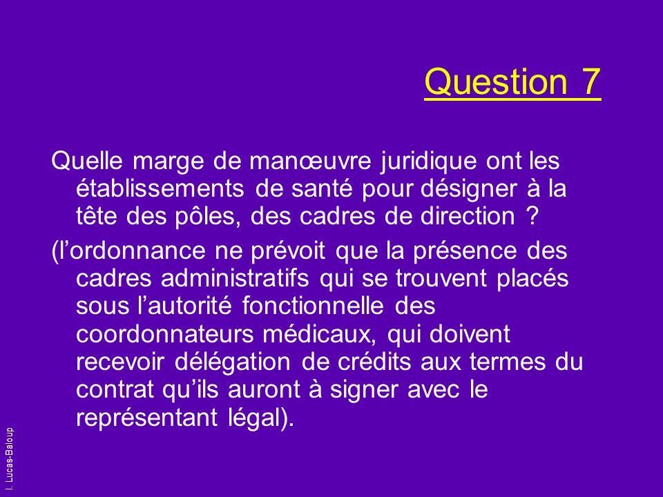 I. Lucas-Baloup Question 7 Quelle marge de manœuvre juridique ont les établissements de santé pour désigner à la tête des pôles, des cadres de directi