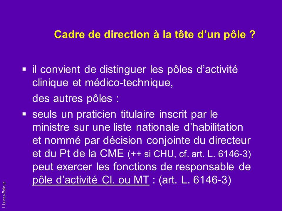 I. Lucas-Baloup Cadre de direction à la tête dun pôle ? il convient de distinguer les pôles dactivité clinique et médico-technique, des autres pôles :
