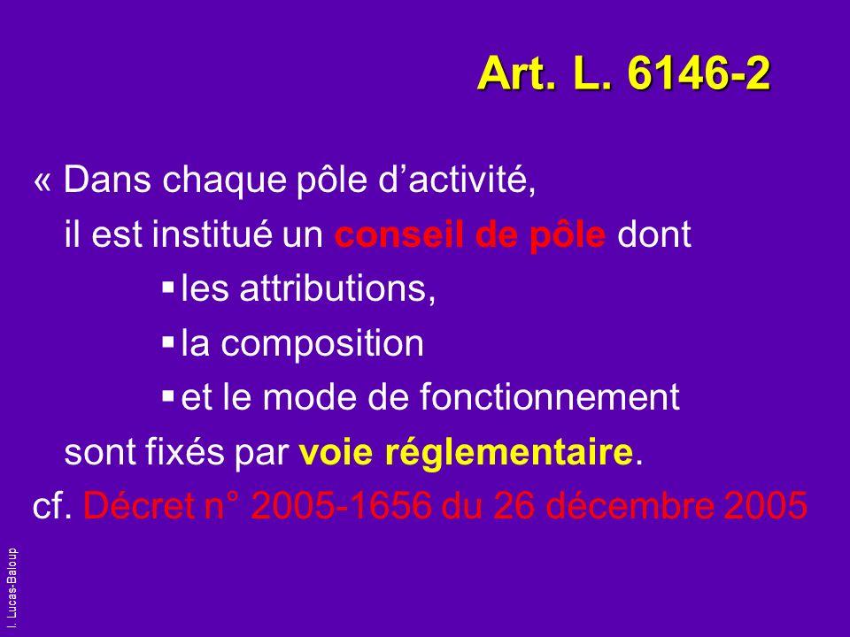 I. Lucas-Baloup Art. L. 6146-2 « Dans chaque pôle dactivité, il est institué un conseil de pôle dont les attributions, la composition et le mode de fo