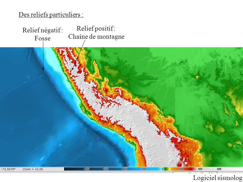 Des reliefs particuliers : Relief négatif : Fosse Relief positif : Chaîne de montagne Logiciel sismolog