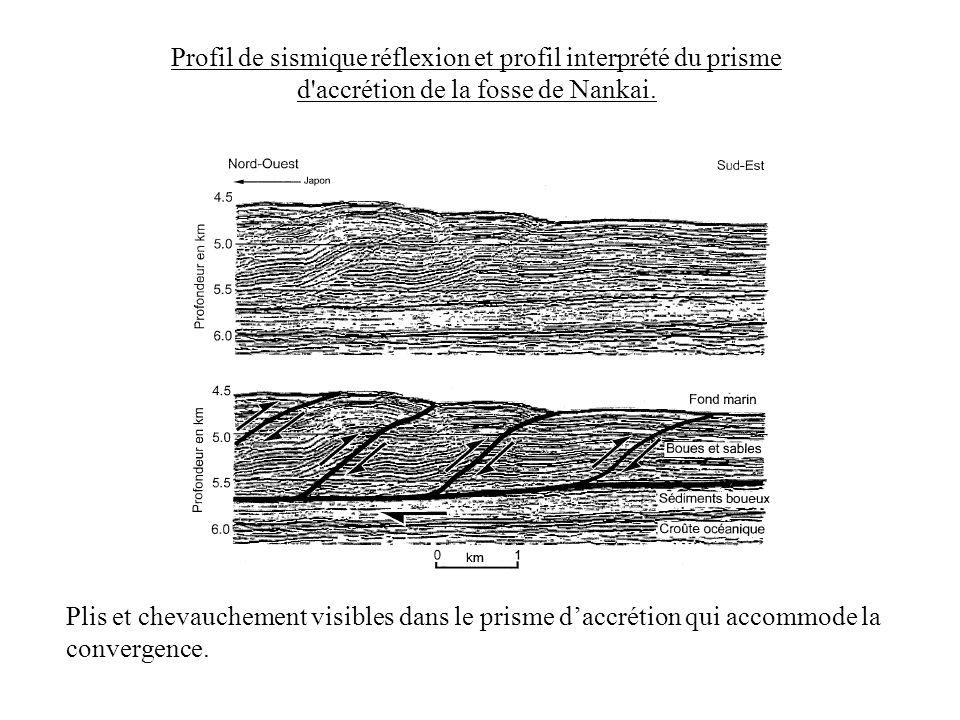 Profil de sismique réflexion et profil interprété du prisme d'accrétion de la fosse de Nankai. Plis et chevauchement visibles dans le prisme daccrétio