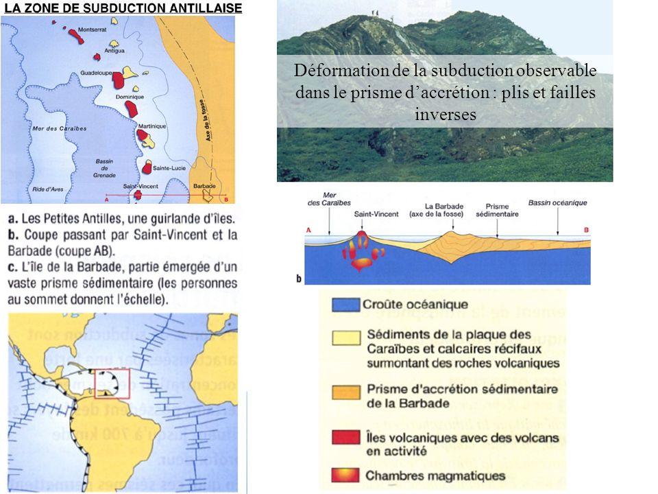 Une marge active : de nombreux séismes le long du plan de bénioff Subduction des Mariannes Subduction Sud-Américaine Plan de bénioff de pendage très important Plan de bénioff à pendage moins important Dépend de la densité de la lithosphère océanique plongeante.
