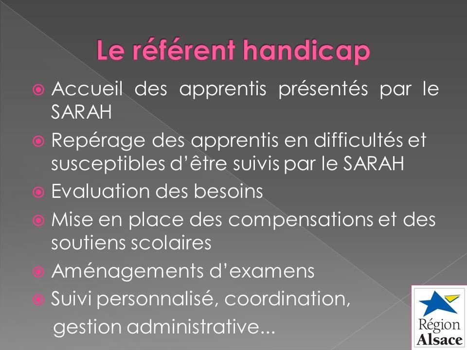 Accueil des apprentis présentés par le SARAH Repérage des apprentis en difficultés et susceptibles dêtre suivis par le SARAH Evaluation des besoins Mi