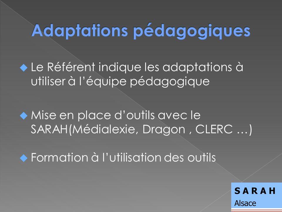 Le Référent indique les adaptations à utiliser à léquipe pédagogique Mise en place doutils avec le SARAH(Médialexie, Dragon, CLERC …) Formation à lutilisation des outils