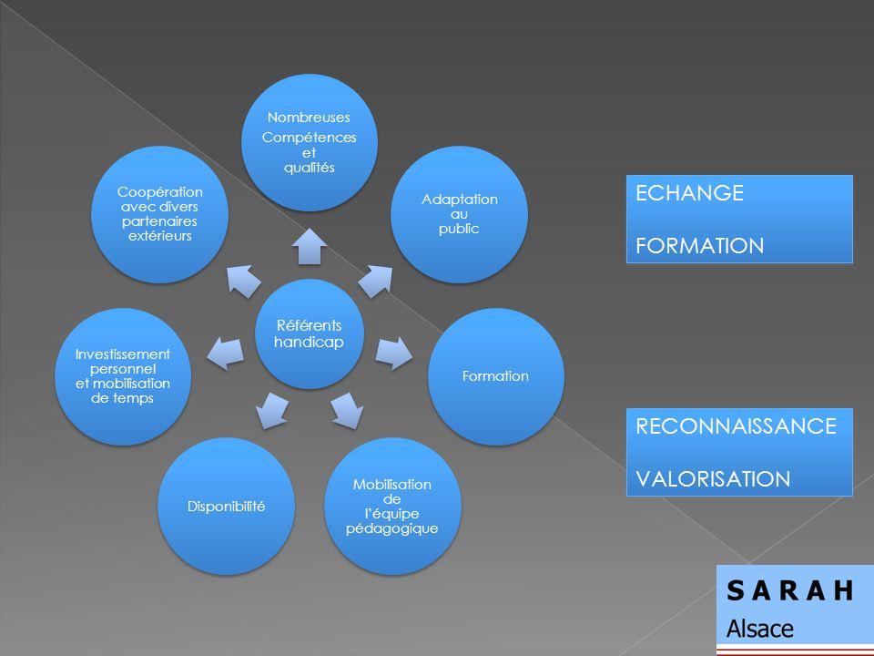 Référents handicap Nombreuses Compétences et qualités Adaptation au public Formation Mobilisation de léquipe pédagogique Disponibilité Investissement personnel et mobilisation de temps Coopération avec divers partenaires extérieurs RECONNAISSANCE VALORISATION RECONNAISSANCE VALORISATION ECHANGE FORMATION ECHANGE FORMATION