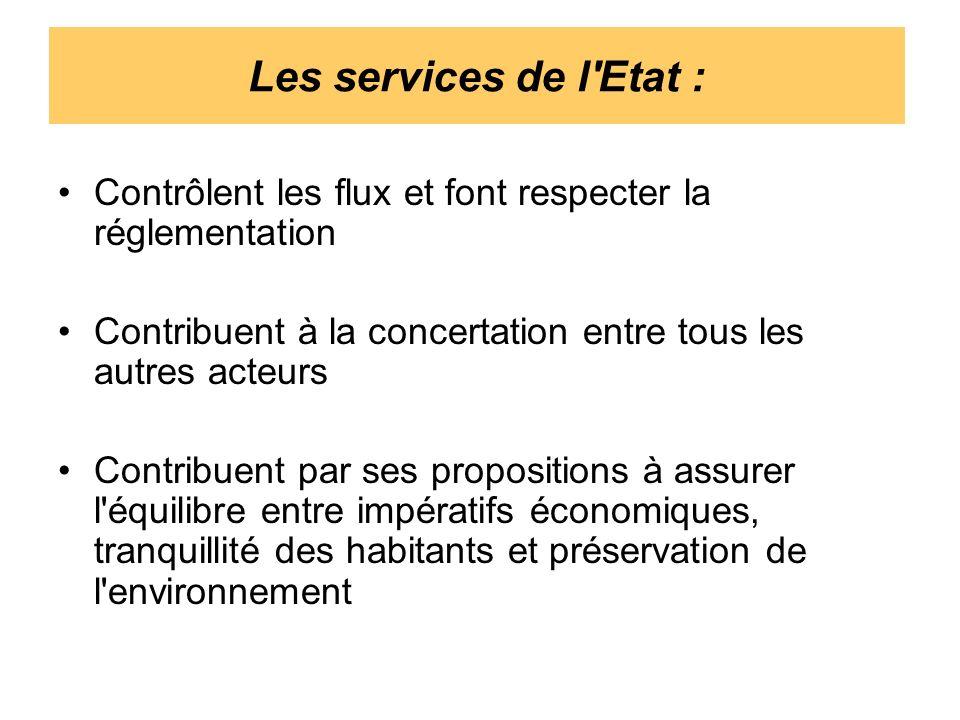 Les services de l'Etat : Contrôlent les flux et font respecter la réglementation Contribuent à la concertation entre tous les autres acteurs Contribue