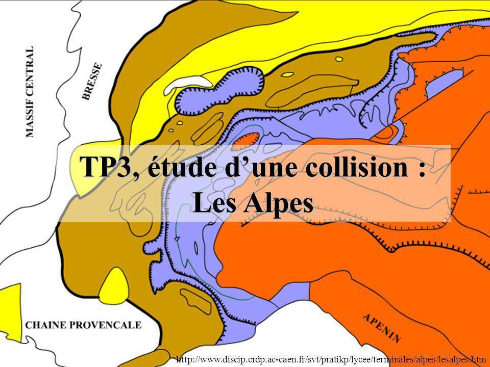 TP3, étude dune collision : Les Alpes http://www.discip.crdp.ac-caen.fr/svt/pratikp/lycee/terminales/alpes/lesalpes.htm