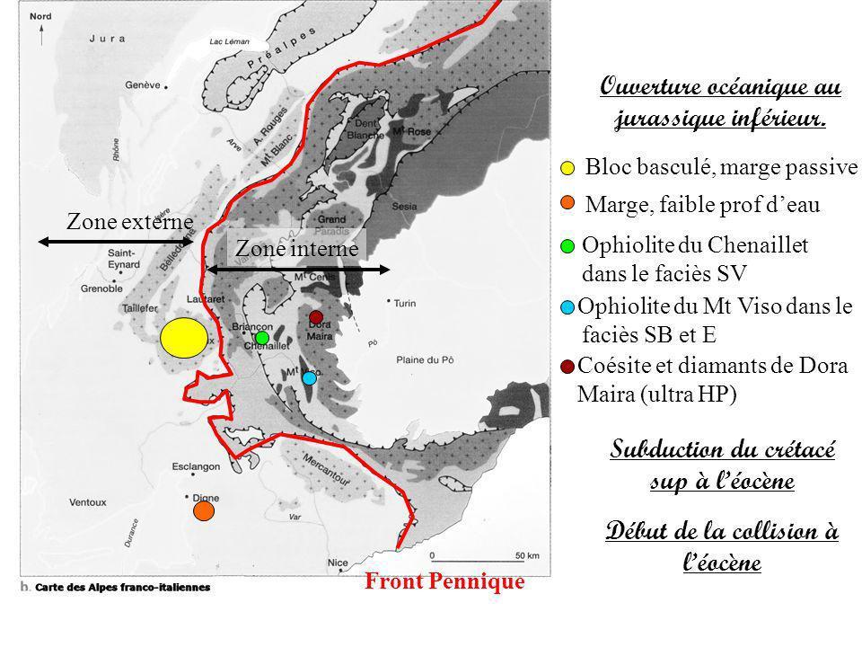 Front Pennique Zone externe Zone interne Ophiolite du Chenaillet dans le faciès SV Bloc basculé, marge passive Ouverture océanique au jurassique infér