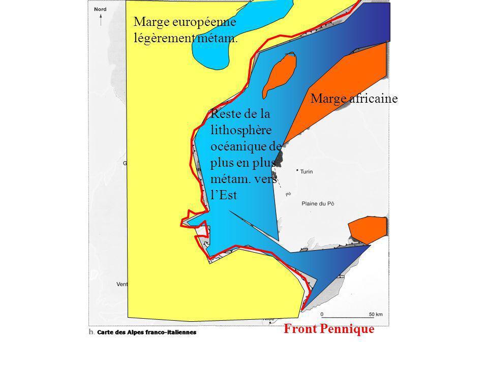 Front Pennique Reste de la lithosphère océanique de plus en plus métam. vers lEst Marge africaine Marge européenne légèrement métam.