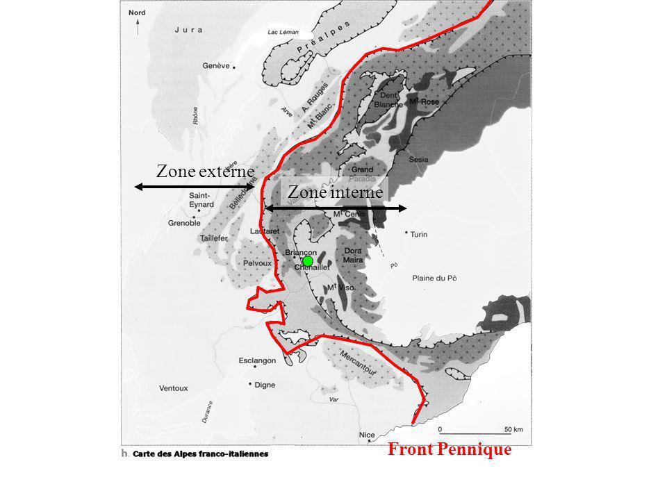 Front Pennique Zone externe Zone interne