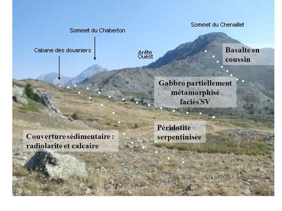 Basalte en coussin Gabbro partiellement métamorphisé faciès SV Péridotite serpentinisée Couverture sédimentaire : radiolarite et calcaire
