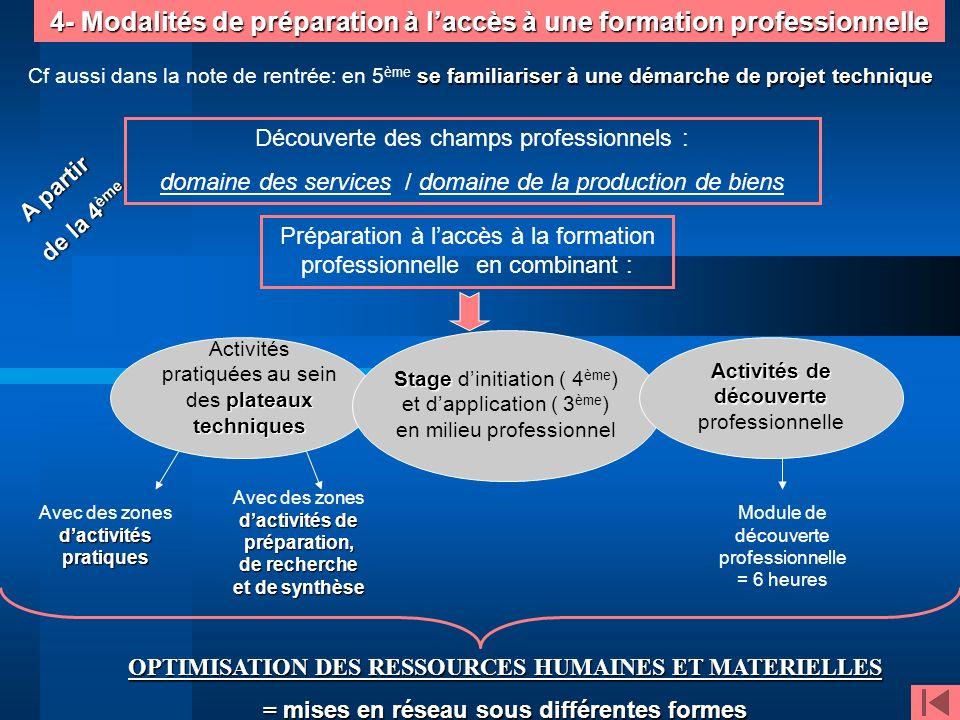 4- Modalités de préparation à laccès à une formation professionnelle A partir de la 4 ème Découverte des champs professionnels : domaine des services