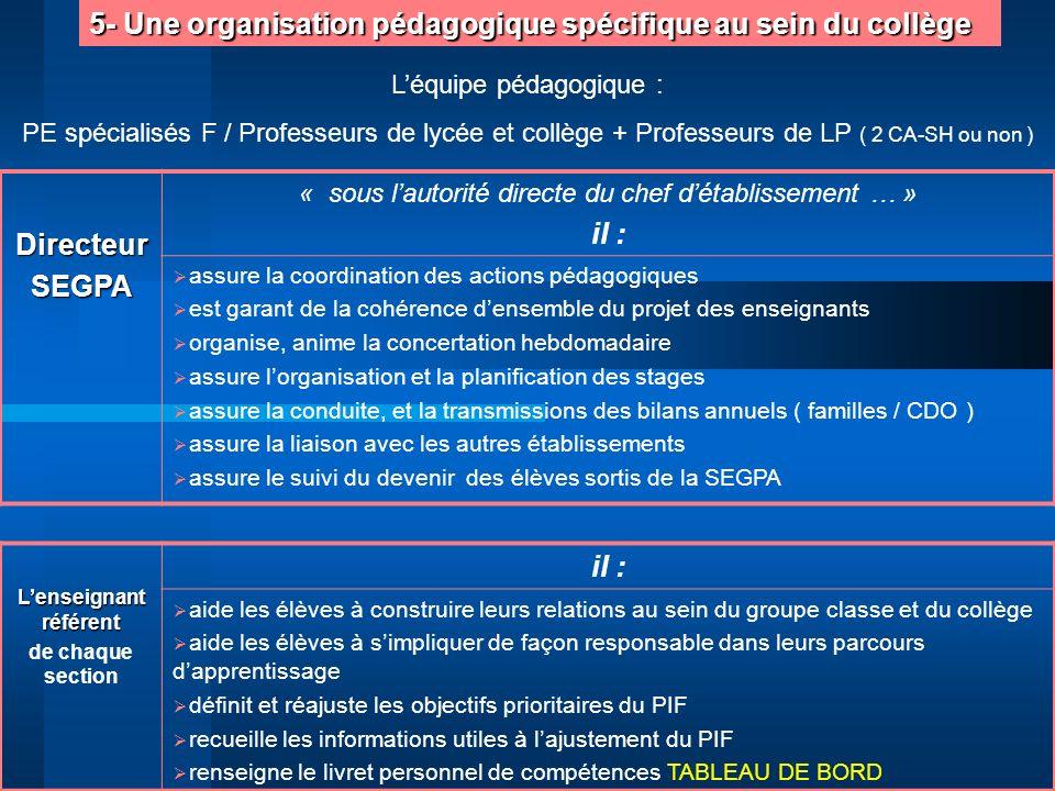 5- Une organisation pédagogique spécifique au sein du collège DirecteurSEGPA « sous lautorité directe du chef détablissement … » il : assure la coordi