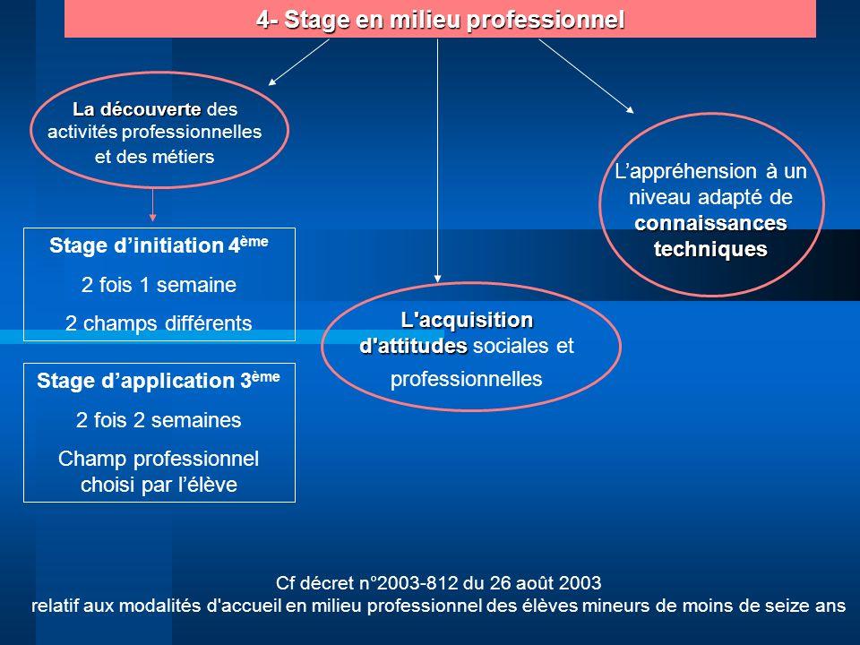 4- Stage en milieu professionnel Cf décret n°2003-812 du 26 août 2003 relatif aux modalités d'accueil en milieu professionnel des élèves mineurs de mo