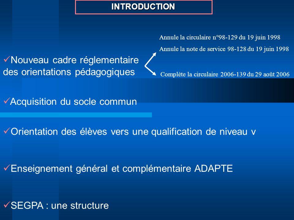 Acquisition du socle commun Orientation des élèves vers une qualification de niveau v Enseignement général et complémentaire ADAPTE SEGPA : une struct
