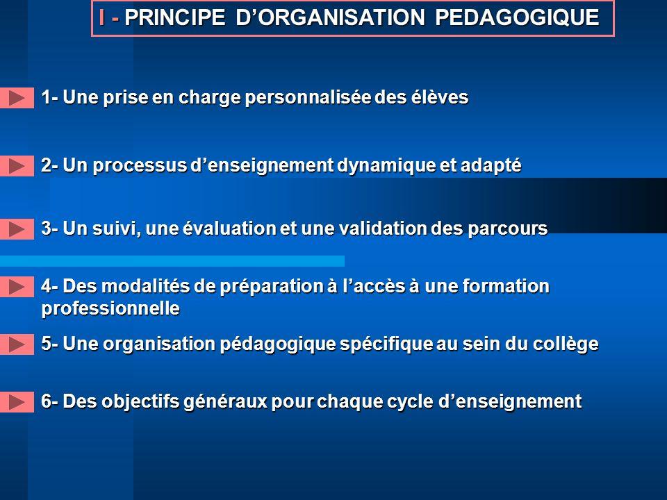 I -PRINCIPE DORGANISATION PEDAGOGIQUE I - PRINCIPE DORGANISATION PEDAGOGIQUE 1- Une prise en charge personnalisée des élèves 2- Un processus denseigne