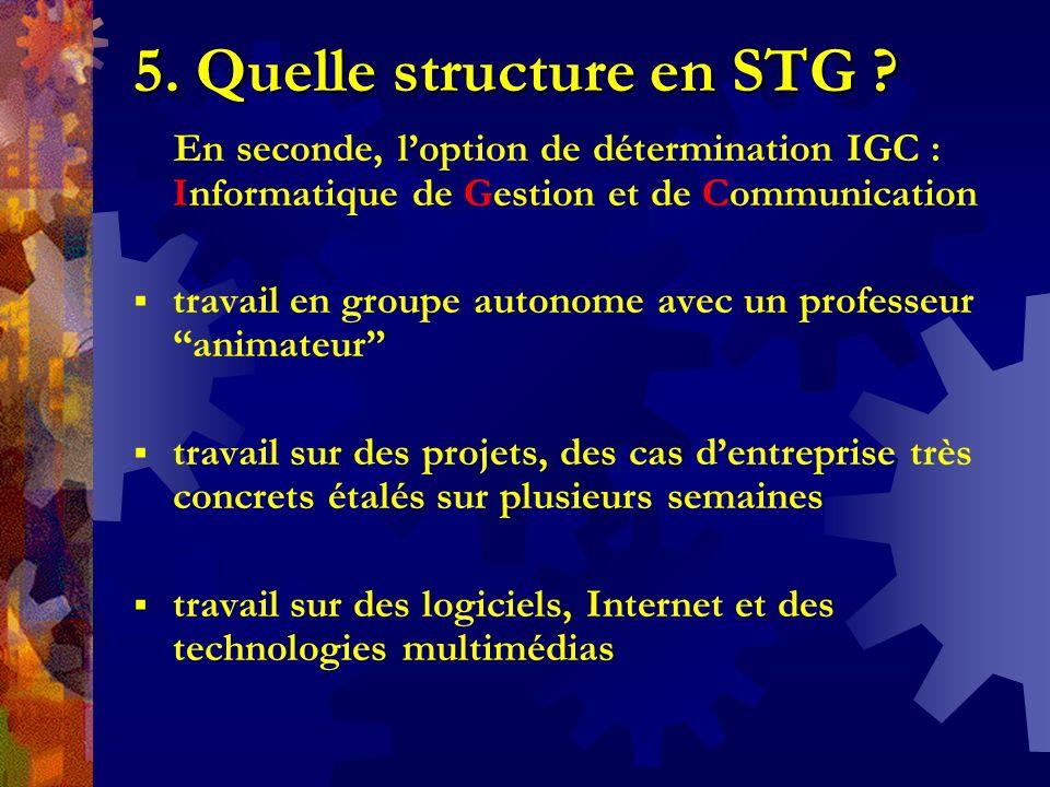 5. Quelle structure en STG ? En seconde, loption de détermination IGC : Informatique de Gestion et de Communication travail en groupe autonome avec un