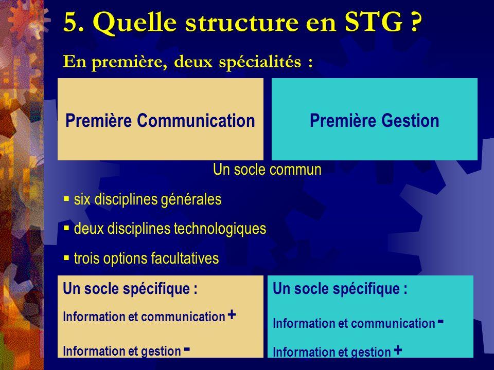 5. Quelle structure en STG ? 5. Quelle structure en STG ? En première, deux spécialités : Première CommunicationPremière Gestion Un socle commun six d