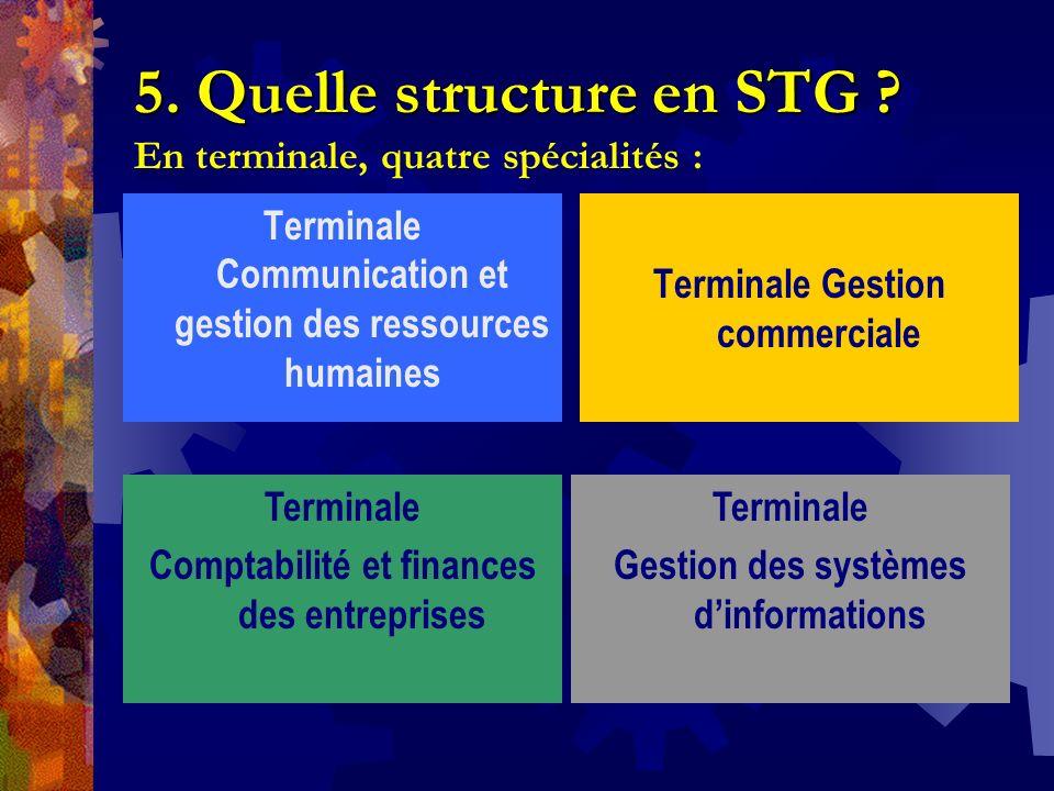 5. Quelle structure en STG ? 5. Quelle structure en STG ? En terminale, quatre spécialités : Terminale Communication et gestion des ressources humaine