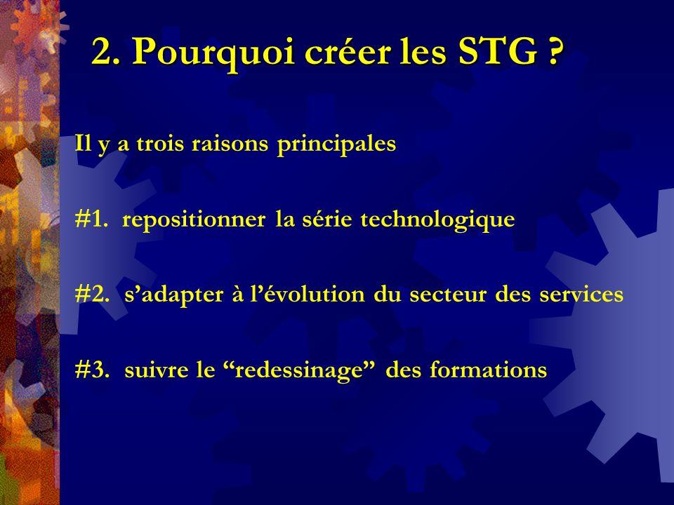2. Pourquoi créer les STG ? Il y a trois raisons principales #1. repositionner la série technologique #2. sadapter à lévolution du secteur des service