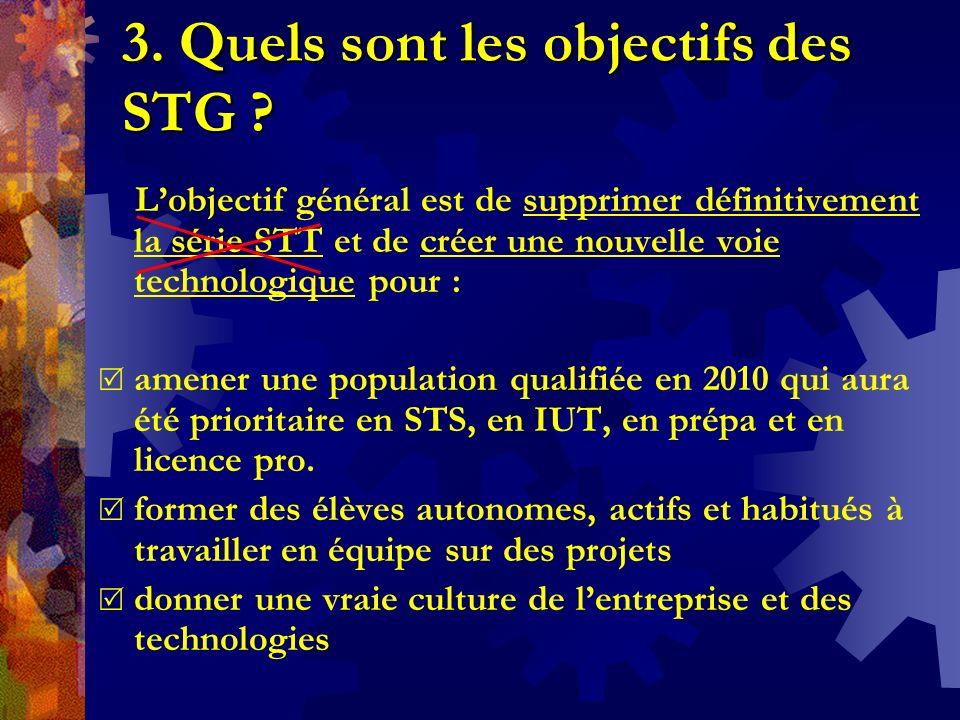 3. Quels sont les objectifs des STG ? Lobjectif général est de supprimer définitivement la série STT et de créer une nouvelle voie technologique pour