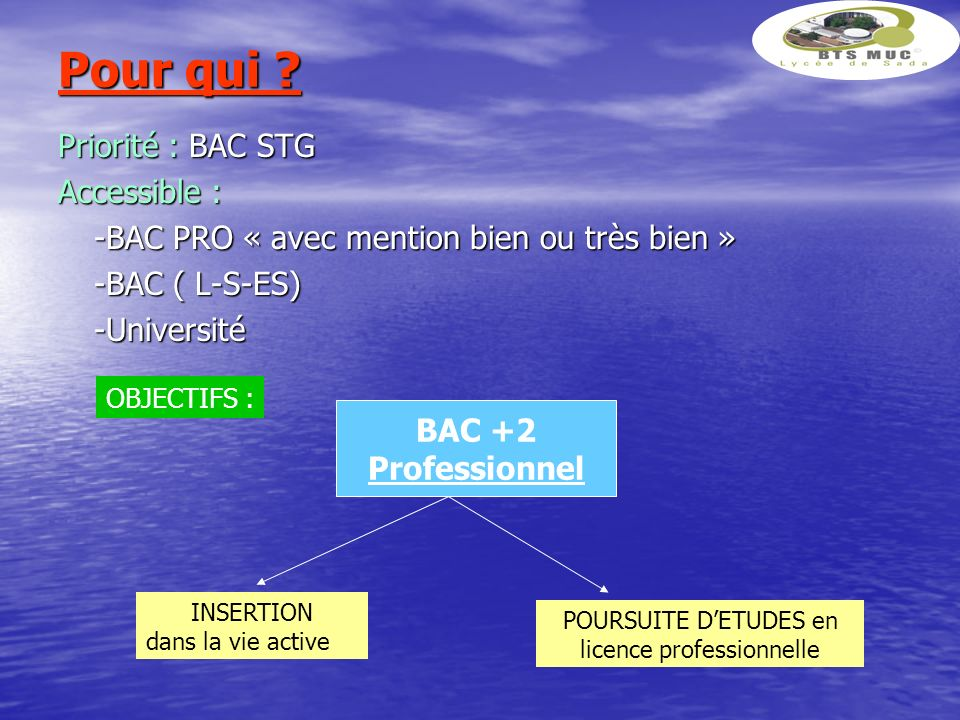 Pour qui ? Priorité : BAC STG Accessible : -BAC PRO « avec mention bien ou très bien » -BAC ( L-S-ES) -Université BAC +2 Professionnel OBJECTIFS : INS