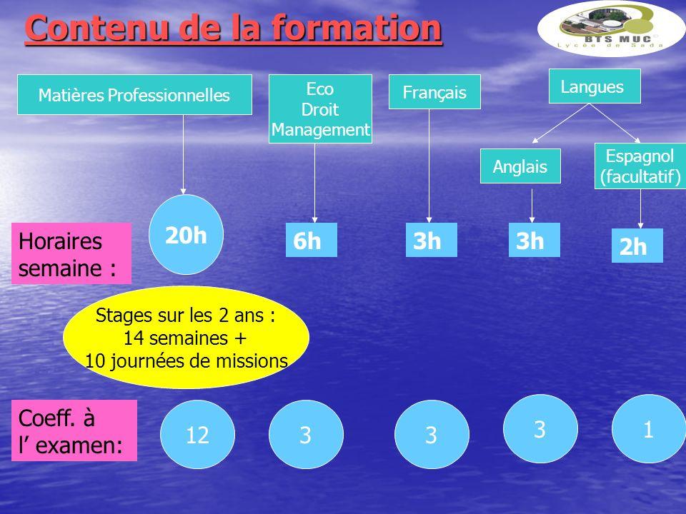 Contenu de la formation Matières Professionnelles Eco Droit Management Français Anglais Horaires semaine : Coeff. à l examen: 20h Stages sur les 2 ans