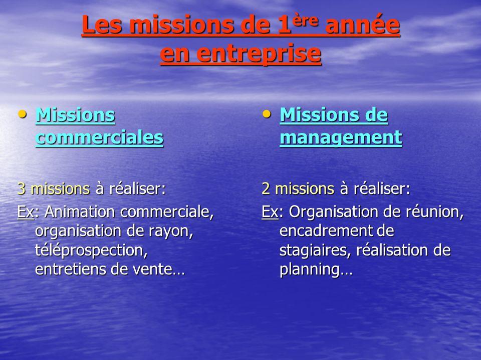 Les missions de 1 ère année en entreprise Missions commerciales Missions commerciales 3 missions à réaliser: Ex: Animation commerciale, organisation d