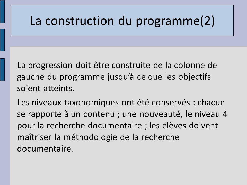 La progression doit être construite de la colonne de gauche du programme jusquà ce que les objectifs soient atteints. Les niveaux taxonomiques ont été