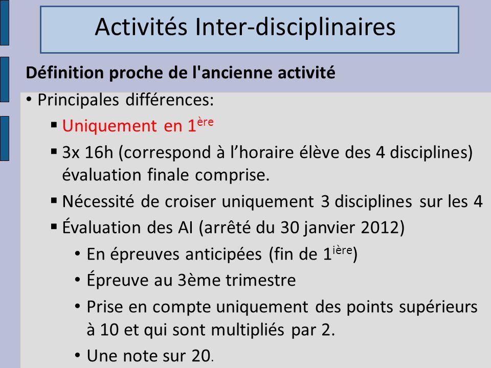Définition proche de l'ancienne activité Principales différences: Uniquement en 1 ère 3x 16h (correspond à lhoraire élève des 4 disciplines) évaluatio