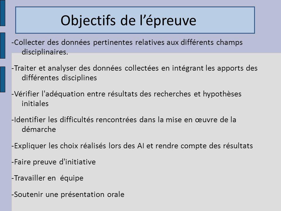 Objectifs de lépreuve -Collecter des données pertinentes relatives aux différents champs disciplinaires. -Traiter et analyser des données collectées e
