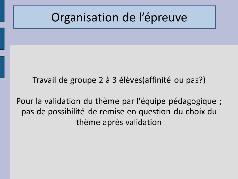 Travail de groupe 2 à 3 élèves(affinité ou pas?) Pour la validation du thème par l'équipe pédagogique ; pas de possibilité de remise en question du ch
