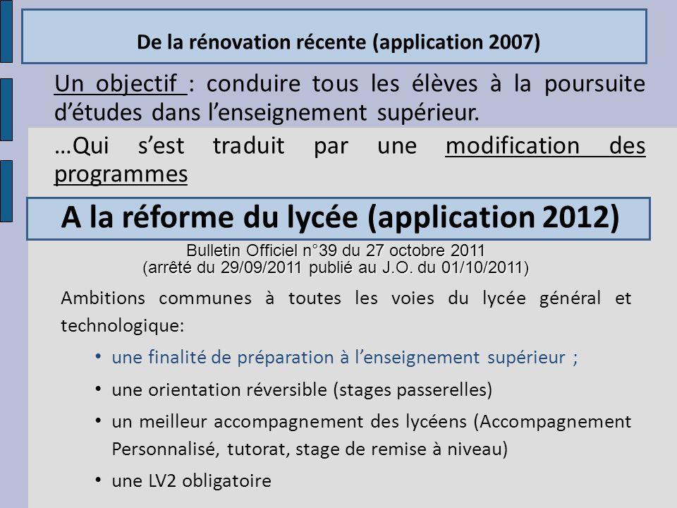 De la rénovation récente (application 2007) Un objectif : conduire tous les élèves à la poursuite détudes dans lenseignement supérieur. …Qui sest trad