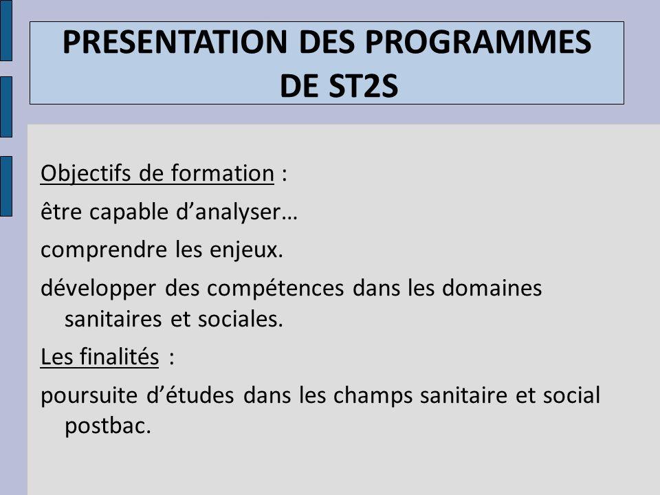 PRESENTATION DES PROGRAMMES DE ST2S Objectifs de formation : être capable danalyser… comprendre les enjeux. développer des compétences dans les domain