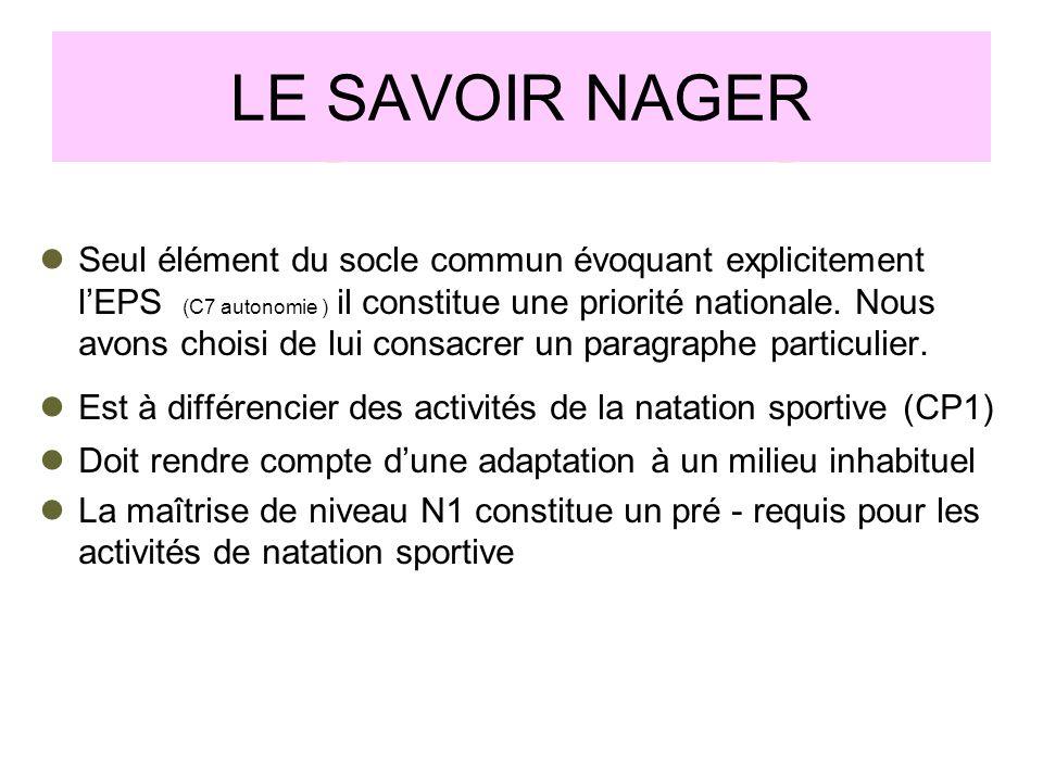 LE SAVOIR NAGER Seul élément du socle commun évoquant explicitement lEPS (C7 autonomie ) il constitue une priorité nationale. Nous avons choisi de lui
