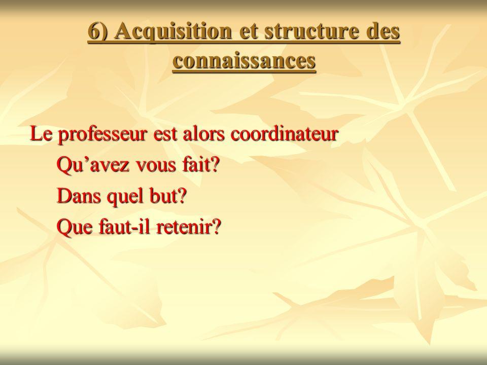 6) Acquisition et structure des connaissances Le professeur est alors coordinateur Quavez vous fait? Quavez vous fait? Dans quel but? Dans quel but? Q