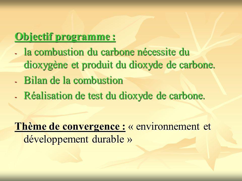 Objectif programme : - la combustion du carbone nécessite du dioxygène et produit du dioxyde de carbone. - Bilan de la combustion - Réalisation de tes