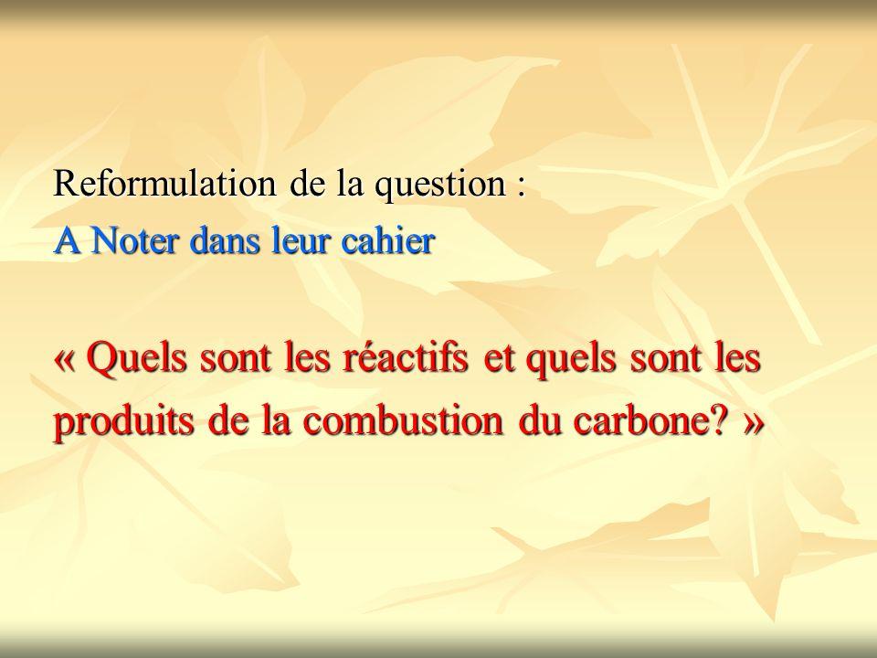 Reformulation de la question : A Noter dans leur cahier « Quels sont les réactifs et quels sont les produits de la combustion du carbone? »